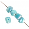 Shell Beads Dice 6mm Turquoise Aurora Borealis
